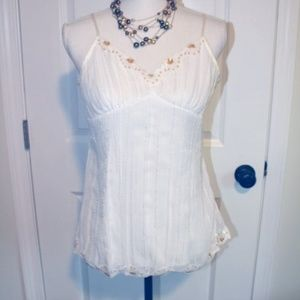 VTG NOBO White Crimped Scalloped Bra Cami Tank Top